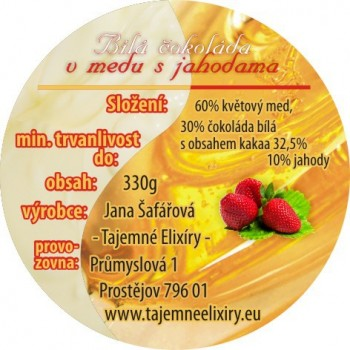 Bílá čokoláda v medu s Jahodama 330g